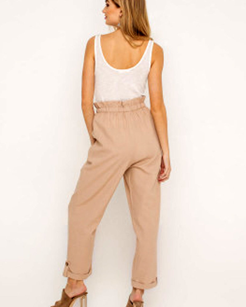 LUSH Linen Ruffle Waist Pants (LP21273-CI)