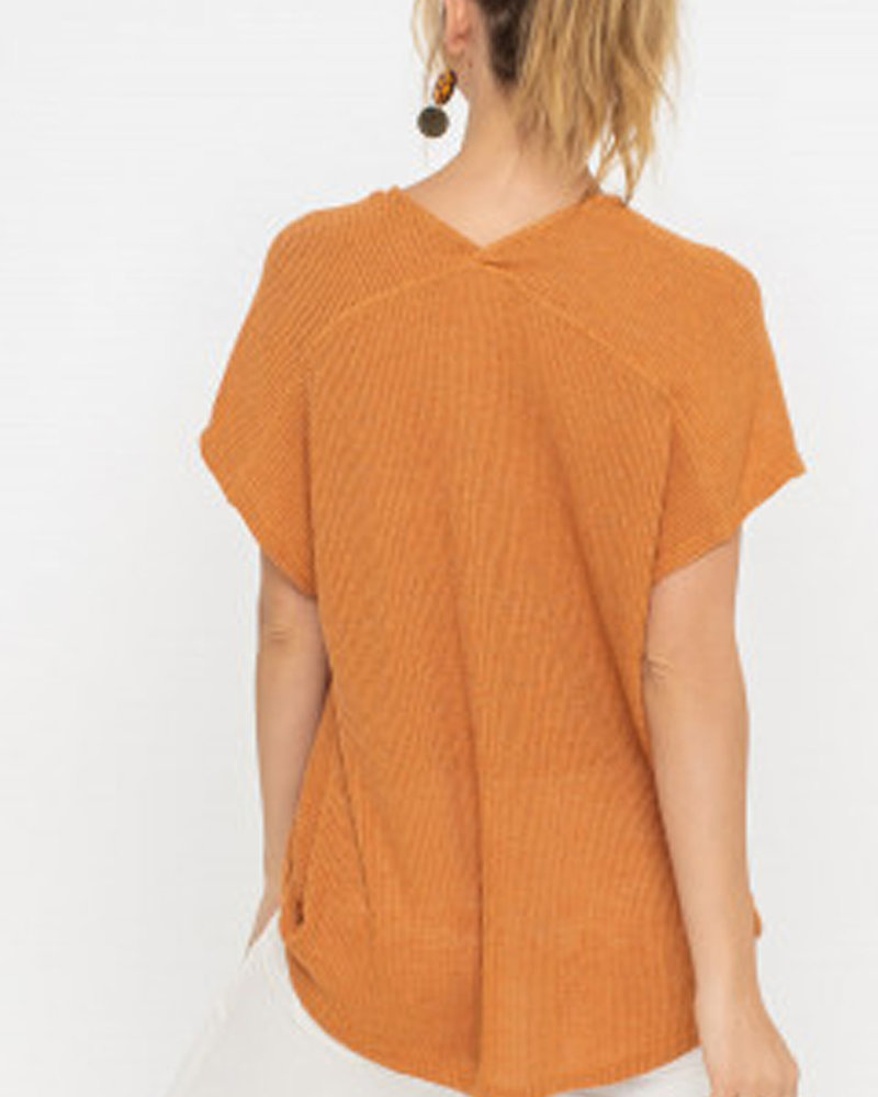 LUSH Draped Ribbed Knit Top (T14742)