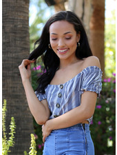 Angie Woven Stripe Button Front Short Sleeve Crop Top (F2077)