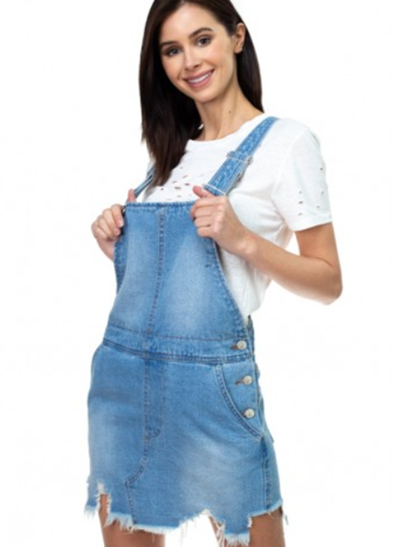 Signature 8 Destroyed Hem Denim Overall Skirt (S3208)