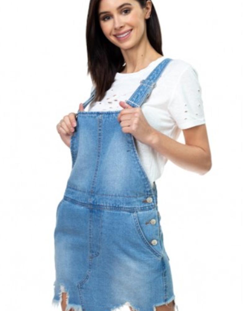 Signature 8 Destroyed Hem Denim Overall Skirt (S3208)