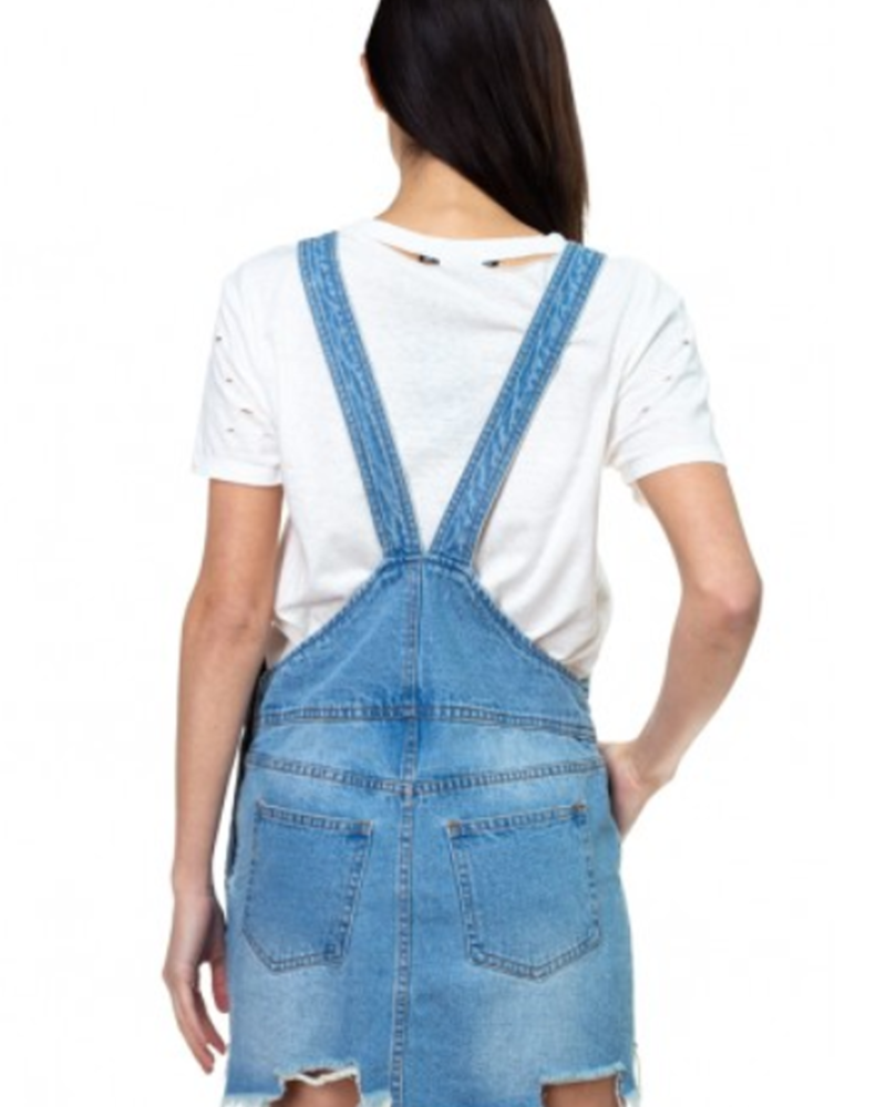 Signature 8 Destroyed Hem Detail Overall Skirt (S3208)