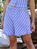 Angie Woven Striped Side Button Shorts (25Q74)