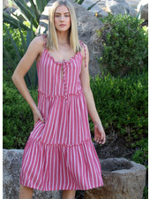 Angie Striped Flowy Sundress With Ruffles (B4AA9)