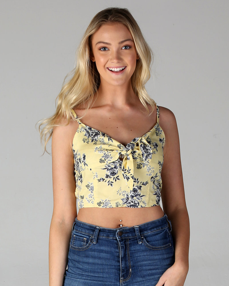 Angie Tie Front Spaghetti Strap Crop Top (B2V62)