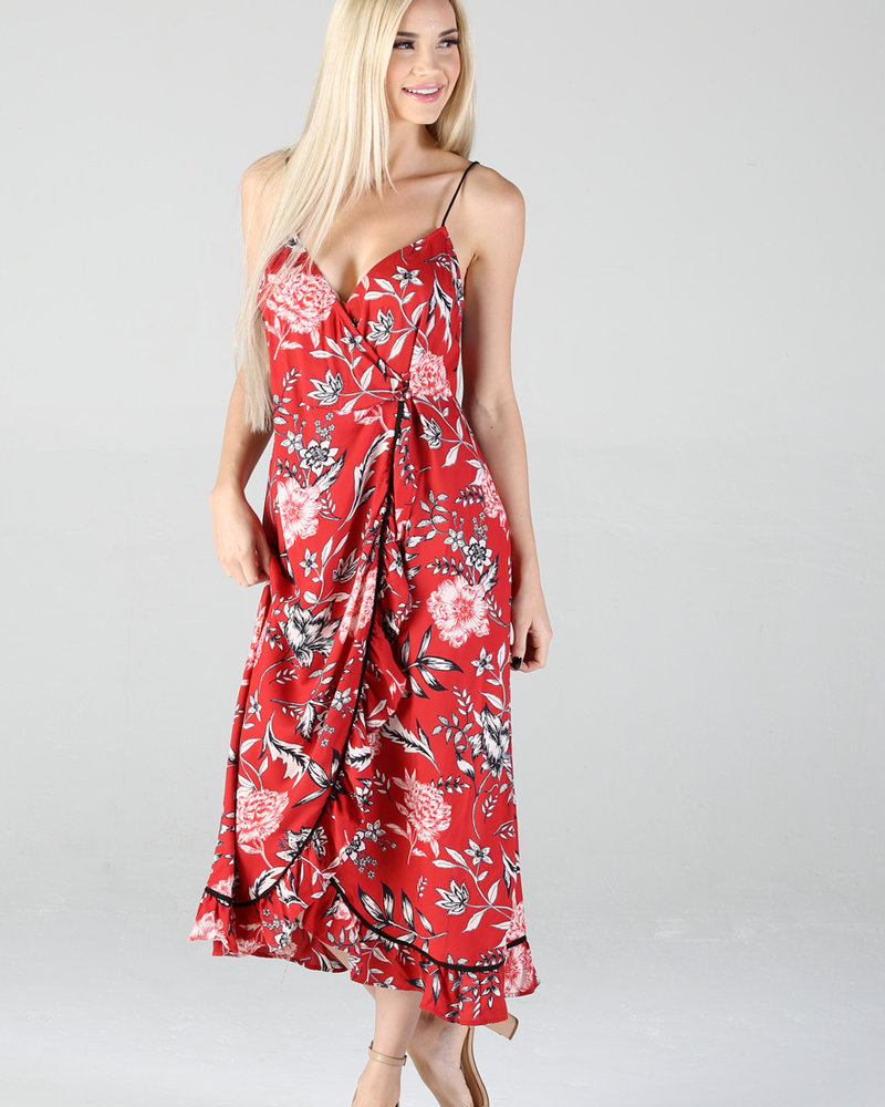Angie Floral Printed Wrap Dress (B4MM3)