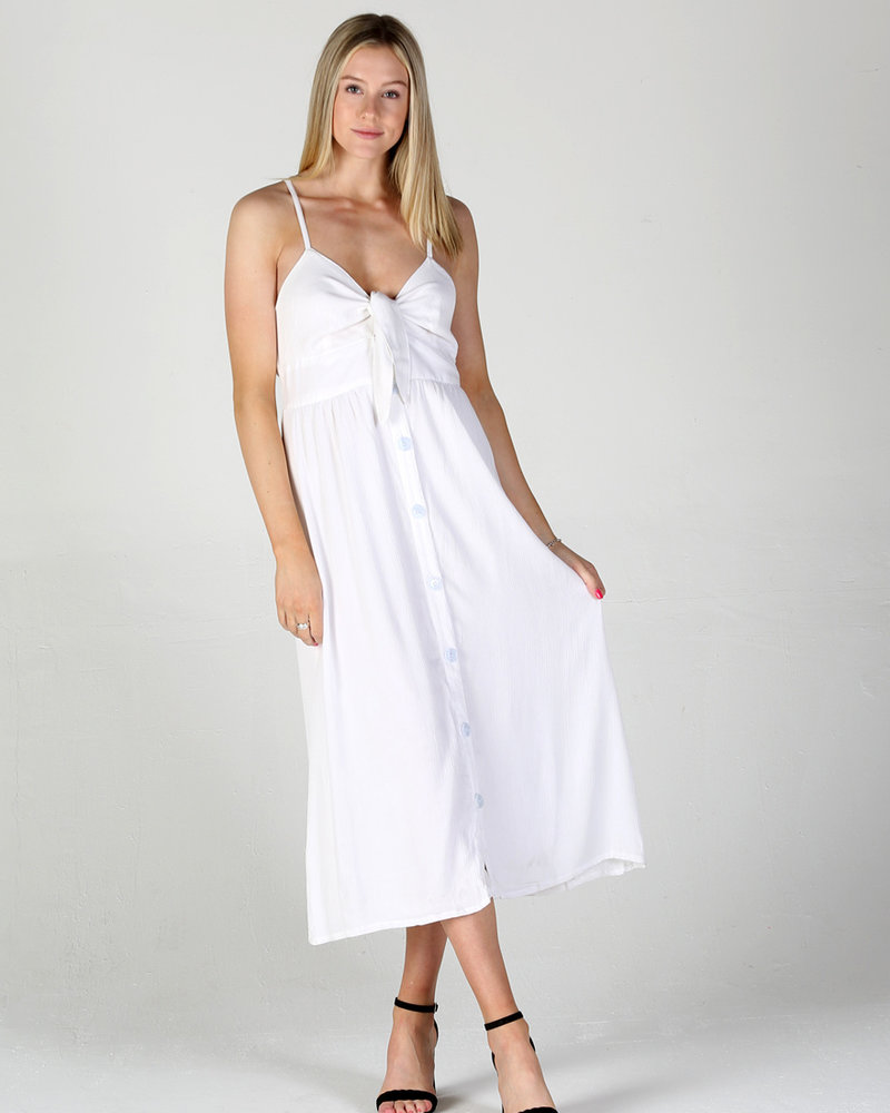 Angie Tie Front Maxi Dress Button Front (F4A78)