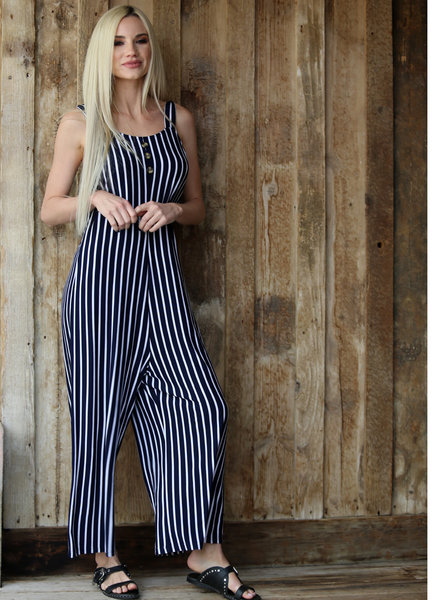 Angie Button Front Wide Leg Jumpsuit (X5135)