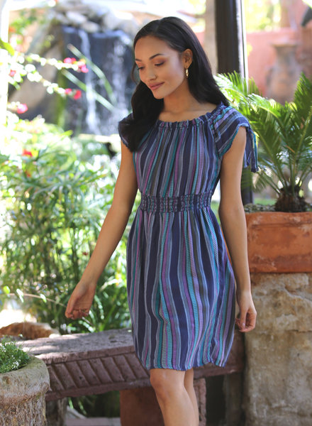Angie Woven Stripe Off Shoulder Tie Sleeves Smocked Waist Dress (F4A68)