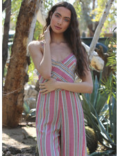 Angie Woven Striped Spaghetti Strap Jumpsuit (Q5T92)