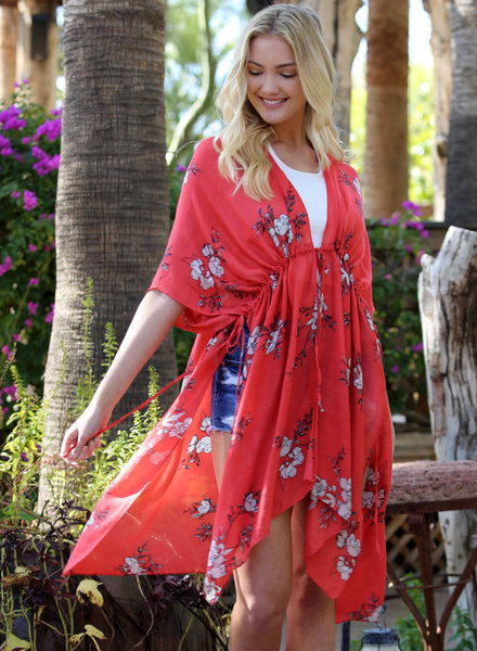 Angie Floral Kimono Wrap With Ties (X2V97)