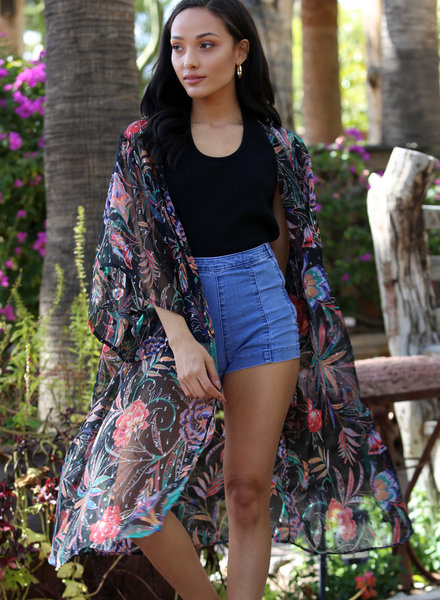 Angie Crinkled Georgette Kimono With Silver (BJ609)
