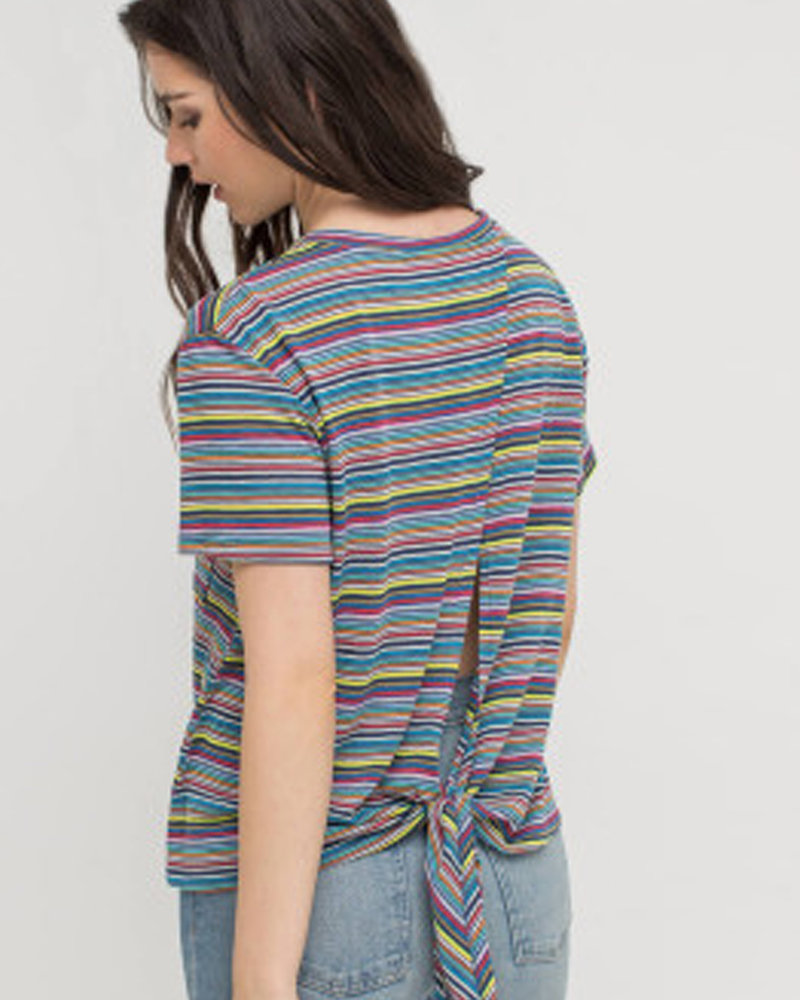 Lush Cotton Wide Stripe Tie Back Top (T14668B)