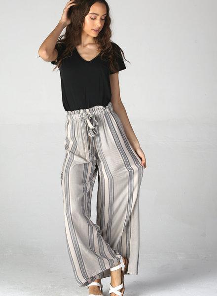 Angie Woven Stripe Wide Leg Pant w/Tie (25Q31)