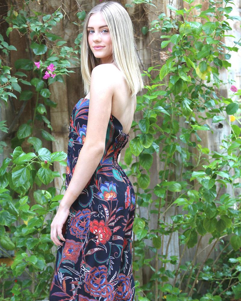 Angie Cinch Bodice Spaghetti Strap Print Jumpsuit (B5708)