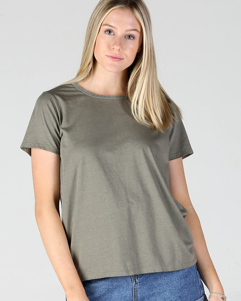 Angie Cross Dye SS Strappy Back Burnout Tee (X2V87-HTHR)