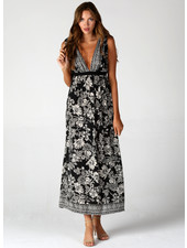 Angie Deep V Neck Open Back Maxi Dress (F4B37)