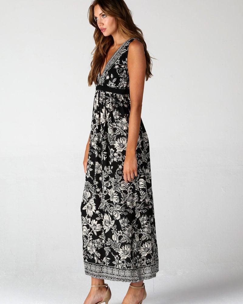 Angie Deep V Neck Open Back Maxi Dress (F4B37)