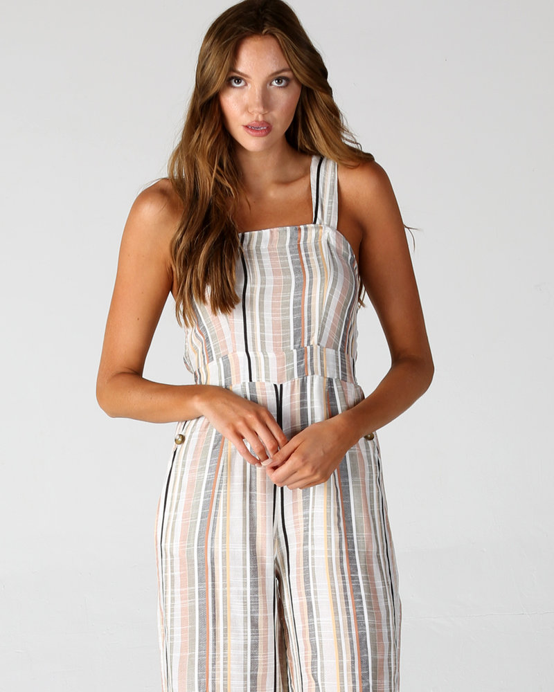 Angie Thick Strap Woven Stripe Jumpsuit (Q5U91)
