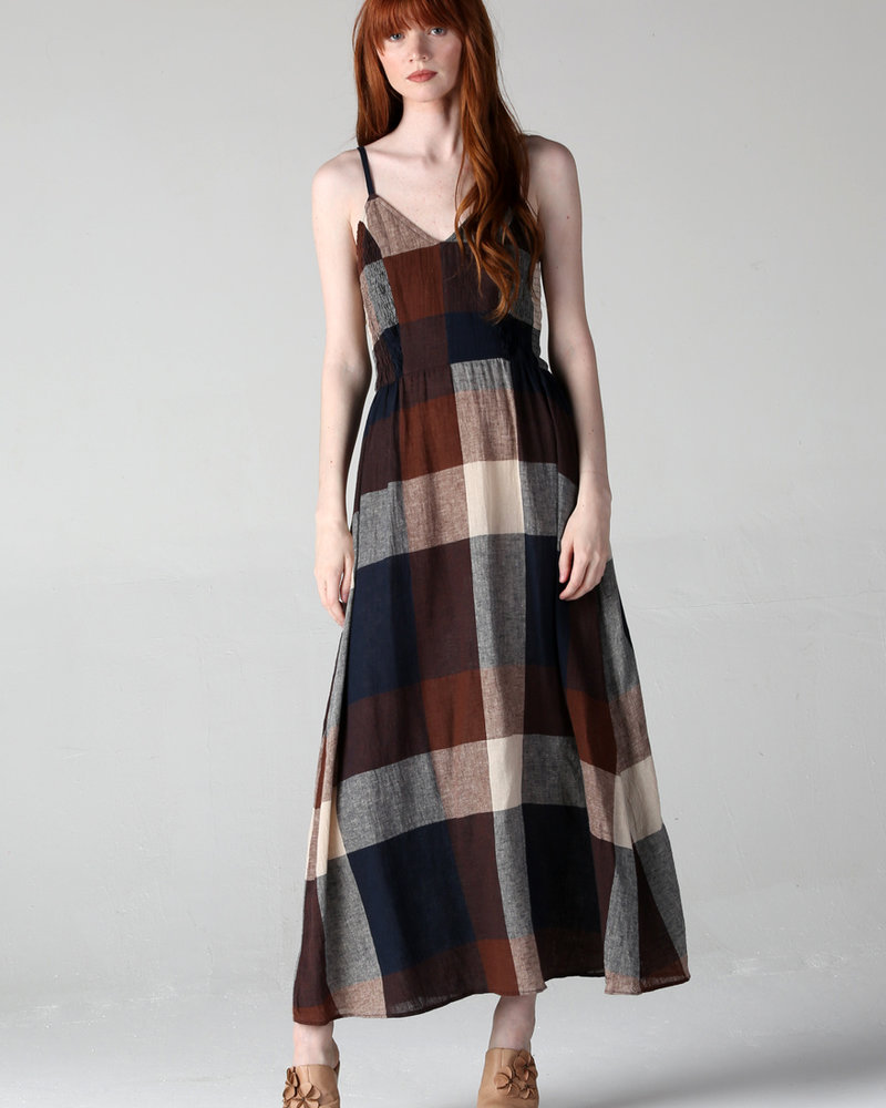 Angie V Neck Dress w/Smocked Sides (F4B70)