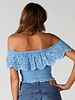 Angie Eyelet Embroidered Smocked Top (F2094)