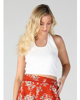 Angie Ribbed Halter Crop Top (X2H42)