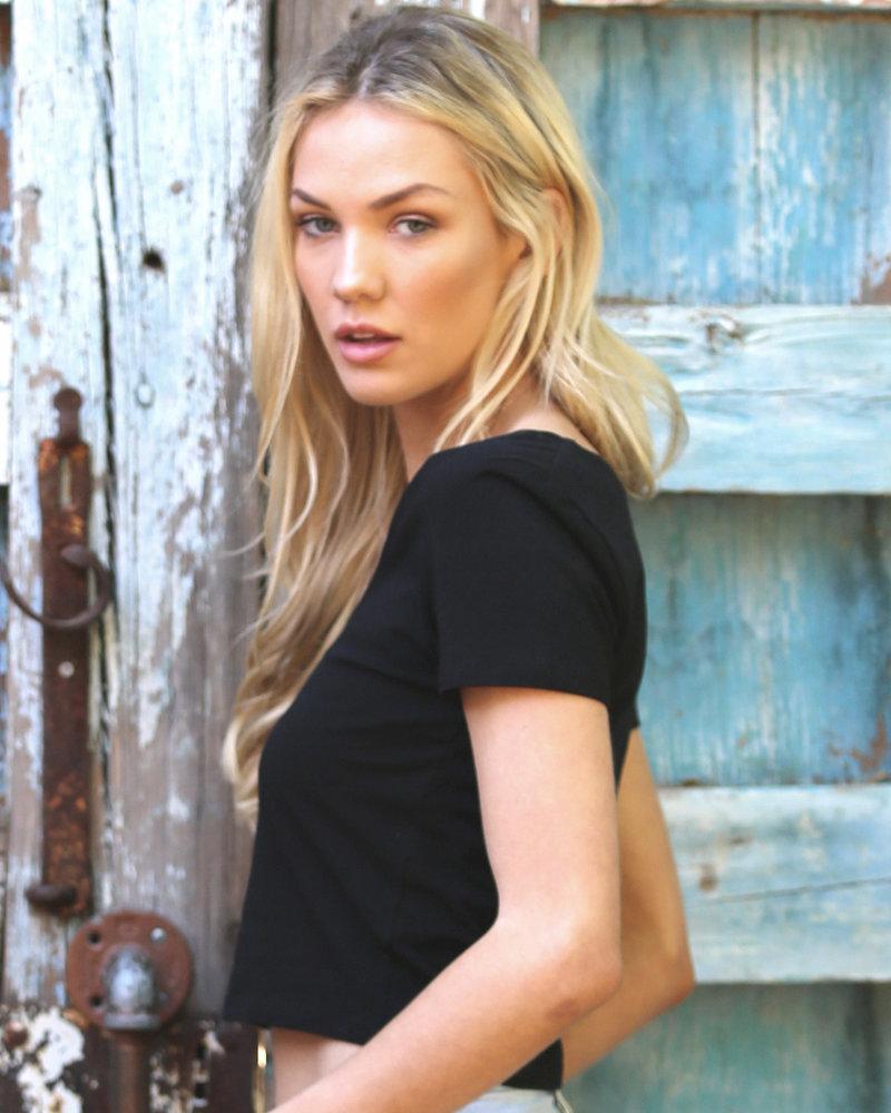 Angie Scoop Neck Short Sleeve Crop Top (X2M72)