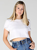 Angie Rolled Cuffs Raw Hem Cropped Short Sleeve T Shirt (X2T58)