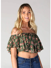 Angie Woven Stripe Button Front Flowy Crop Top (F2089)