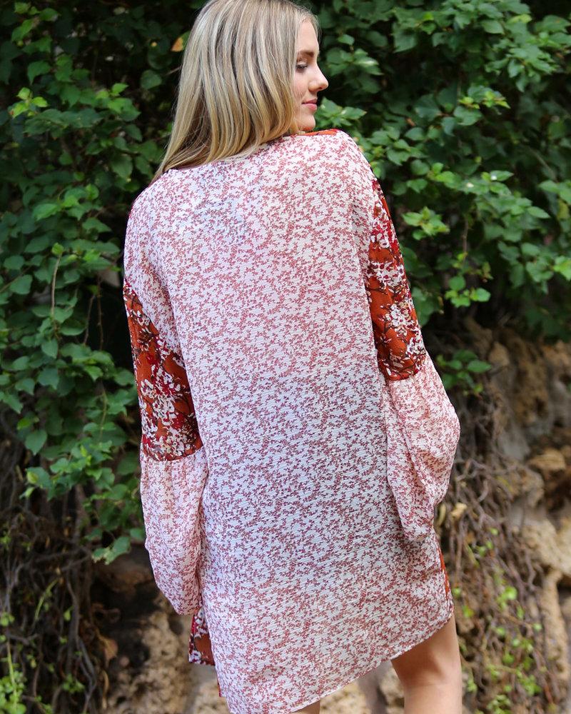 Angie Twin Print Crepe Kimono (X2V81)
