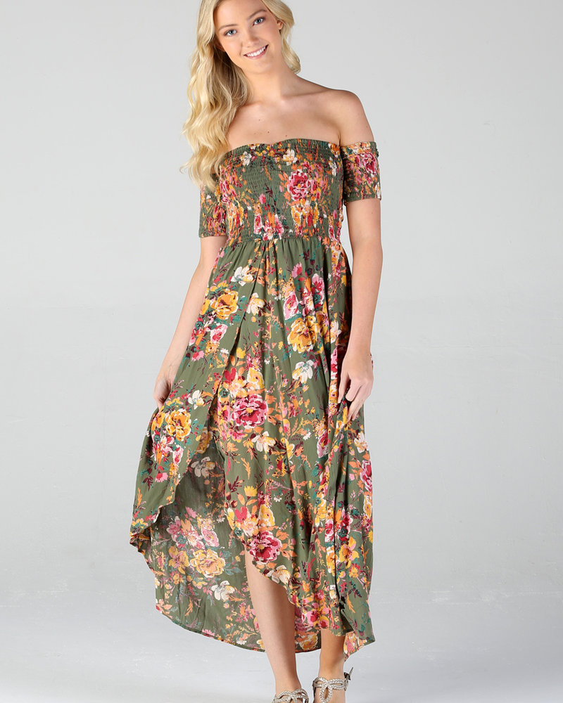 Angie Floral Print Dress with Smocked Bodice (F4A82)