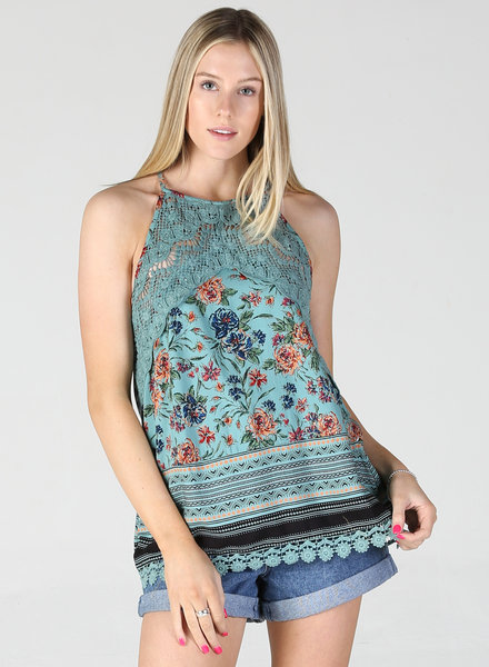 Angie Lace Insert High Neck Tank (F2182)