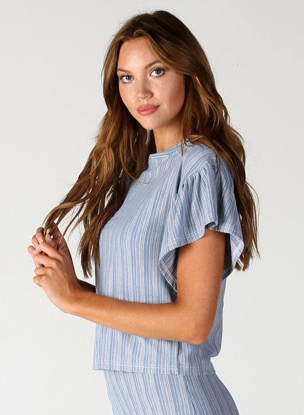 Angie Striped Knit Flounce Sleeve Top (X2W02)