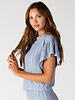 Angie Striped Knit Flounce Sleeve Top (X2W02)