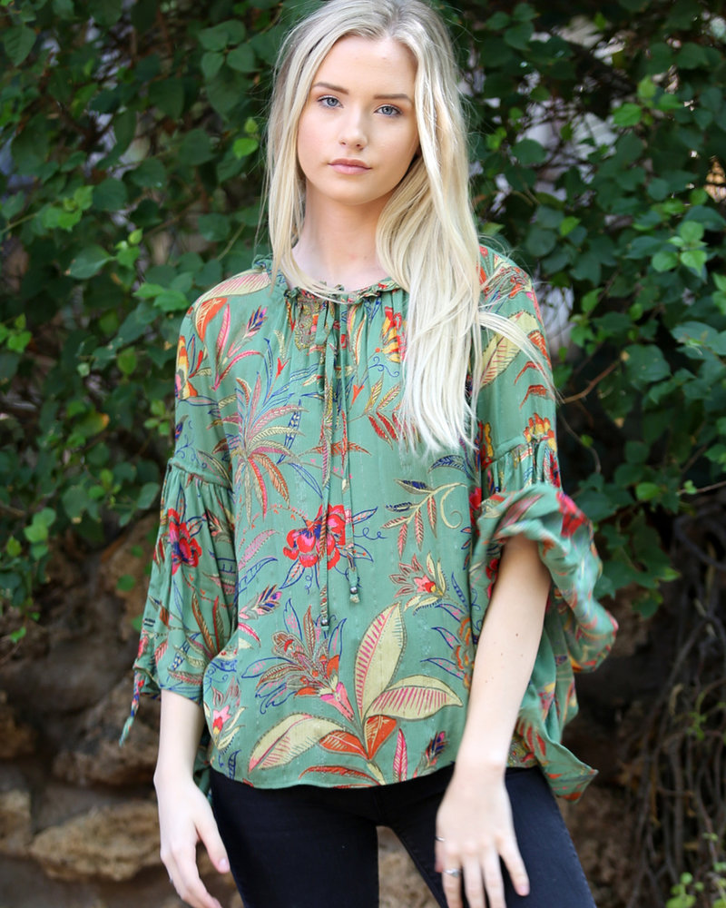 Angie Tie Neck Bell Sleeve Top (B2W06)