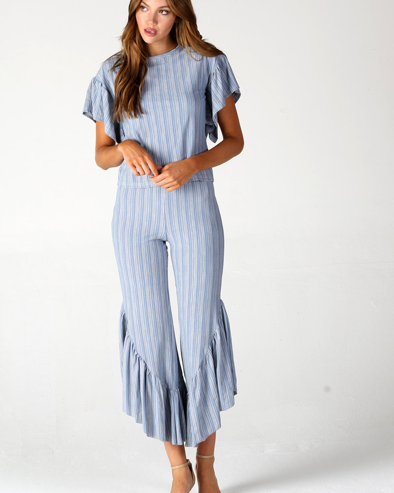 Angie Striped Knit Pants With Ruffle (XP825)