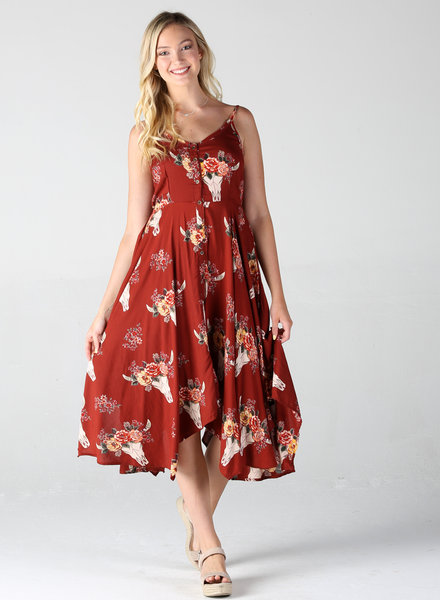 Angie Scarf Hem Midi Dress (B4Y82)