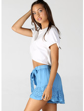 Angie Self Belt Shorts With Flouncy Hem (25Q76)