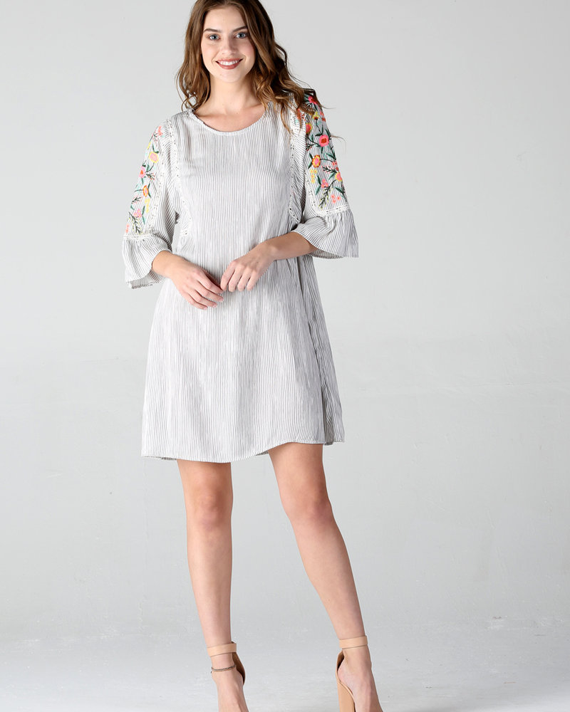 Angie Baby Doll Embroidered Detail Dress (F4900)