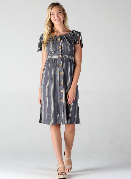 Angie Striped Midi Dress (F4A67)