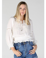 Angie Tie Front Tonal Embroidery Top (B2V60)