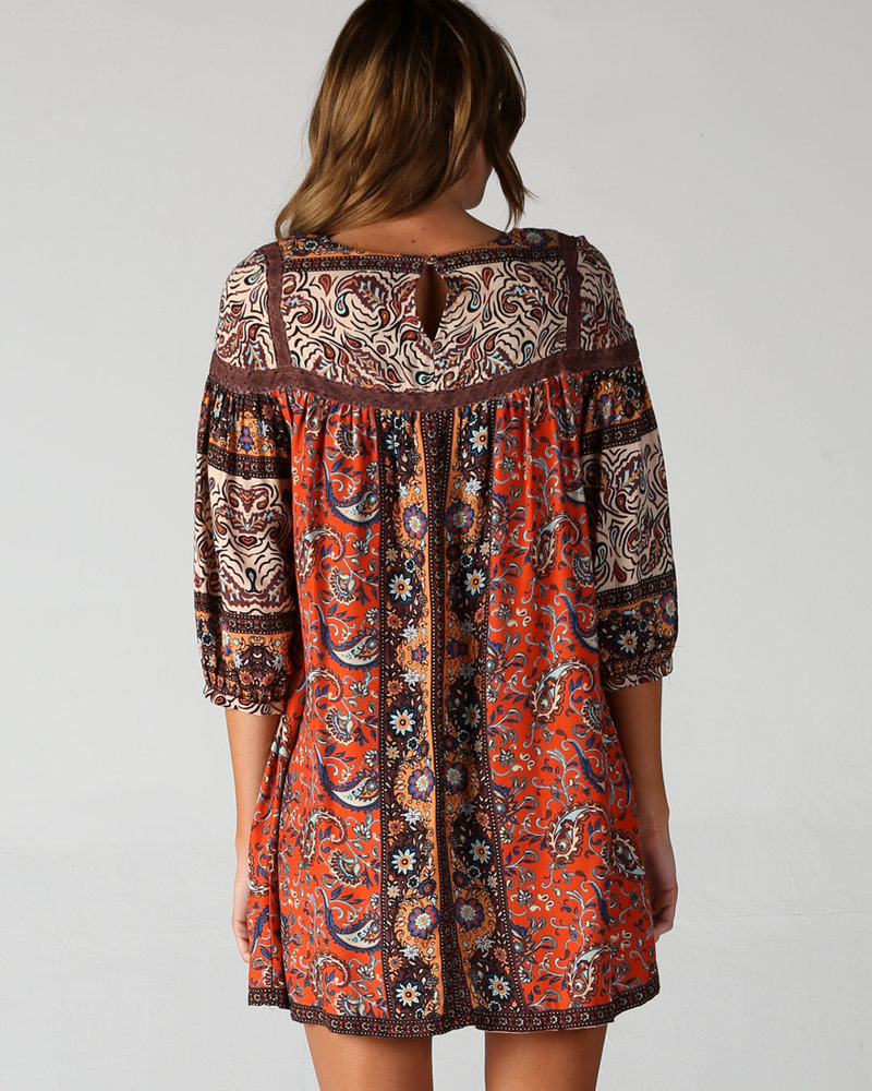 Angie Long Sleeve Printed Dress With Lace Inserts (F4C07)
