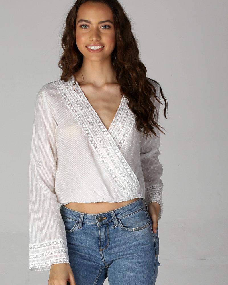 Angie Swiss Dot Lace Trim Surplus Long Sleeve Top (X2W90)