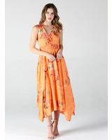 Angie V Neck Midi Dress with Smocked Waist (B4SS5)