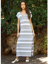 Angie Striped Knit Maxi T Shirt Dress (X4U44-strp)