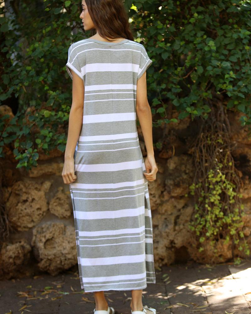 Angie Striped Knit Maxi T Shirt Dress (X4U44-strp)