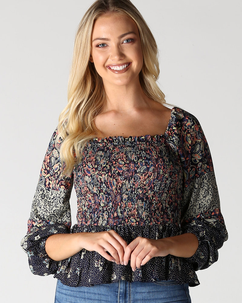 Angie Smocked Long Sleeve Top (F2321)