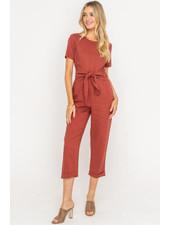 LUSH Belted Short Sleeve Jumpsuit (LP21328-CI)