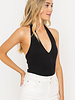 LUSH V Neck Open Back Bodysuit (T15038)