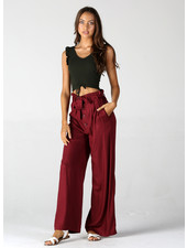 Angie Button Front Wide Leg Pants With Tie Front (25R18)